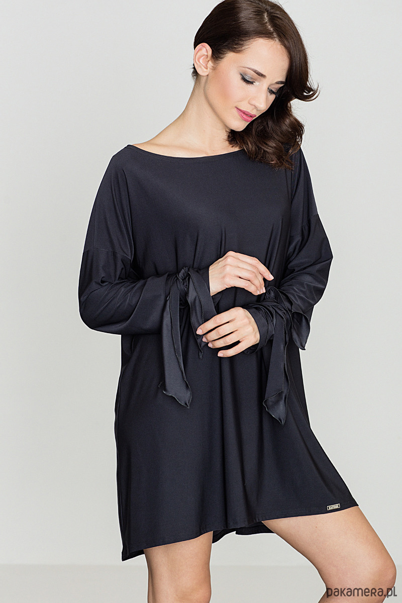 Sukienka trapezowa midi k439 czarna