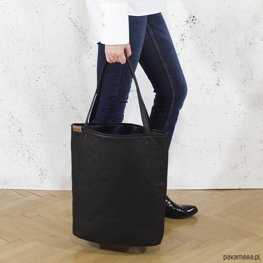 9b87cedac7c46 torby na ramię - damskie-Shopper XL torba czarna z teksturą na zamek
