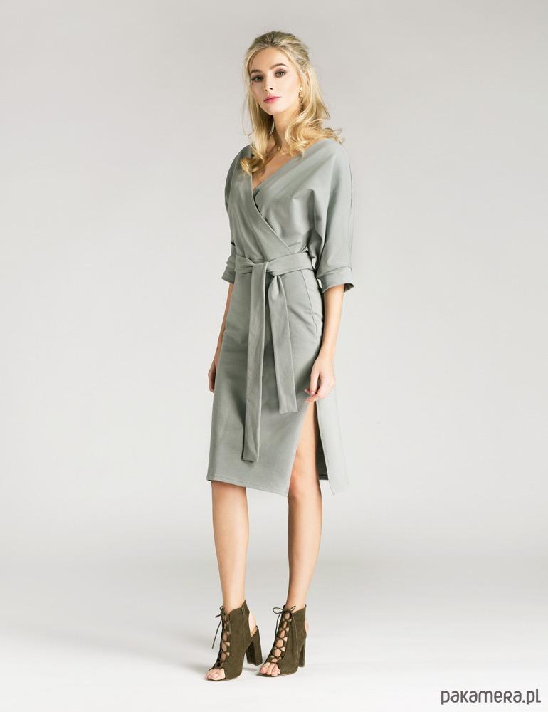 Sukienka kopertowa z eleganckiej dzianiny szara