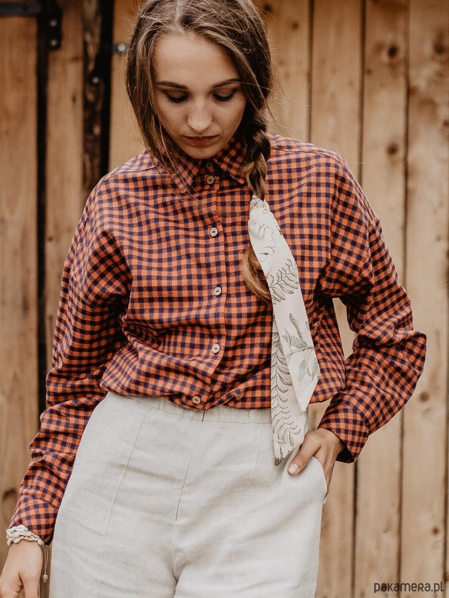 Bawełniana koszula oversize, MEXICAN RANCH bluzki  jK3Kv