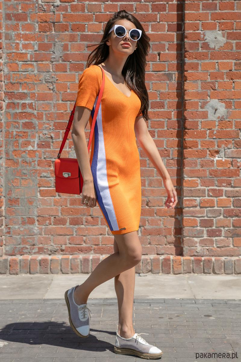 Sukienka z lampasem orange