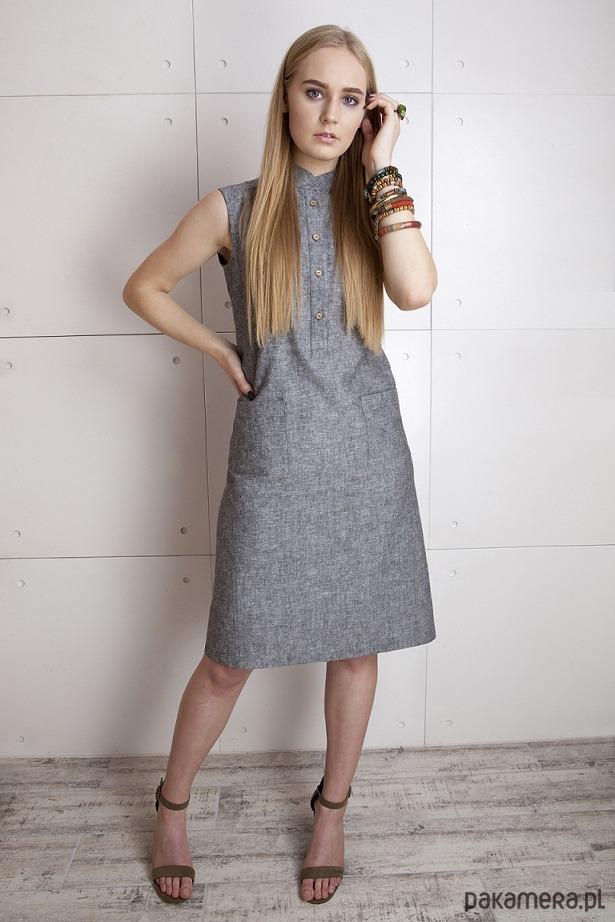 Sukienka z lnu w kolorze szarym