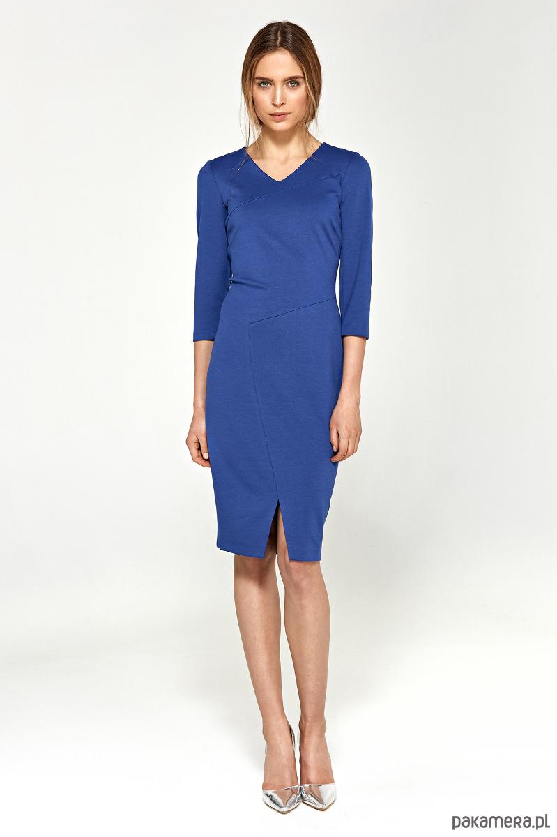 Sukienka z przeszyciami s96 - niebieski
