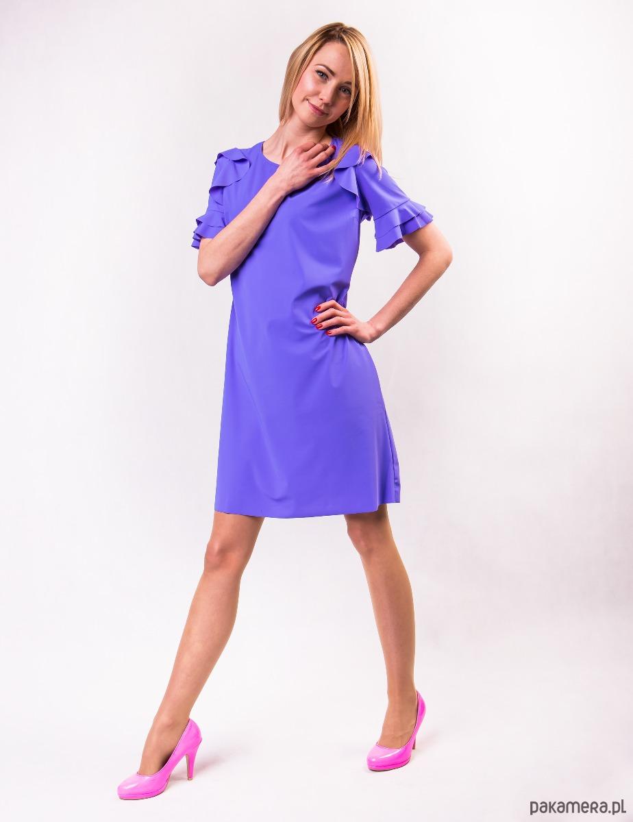 Sukienka damska PEONY LOOK fioletowa