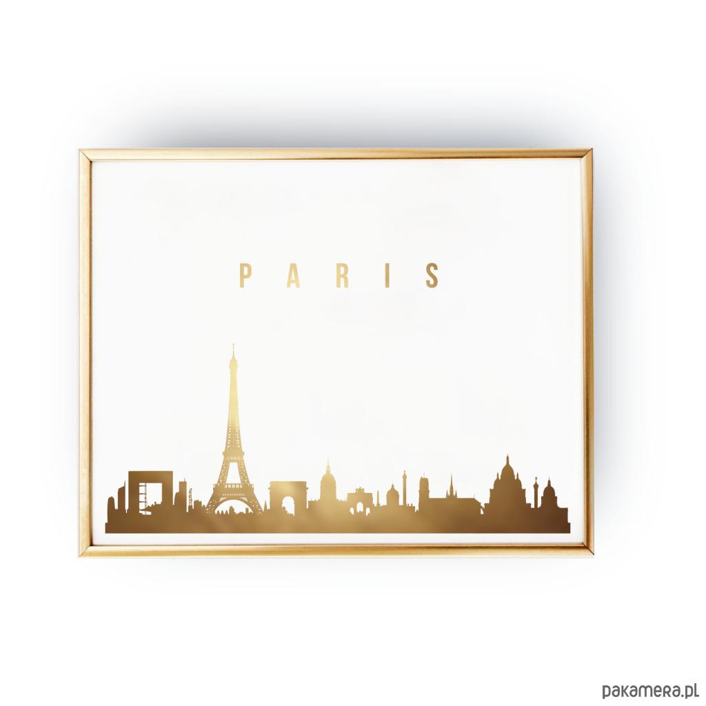 Plakat Paryż Paris Złoty Druk Pakamerapl