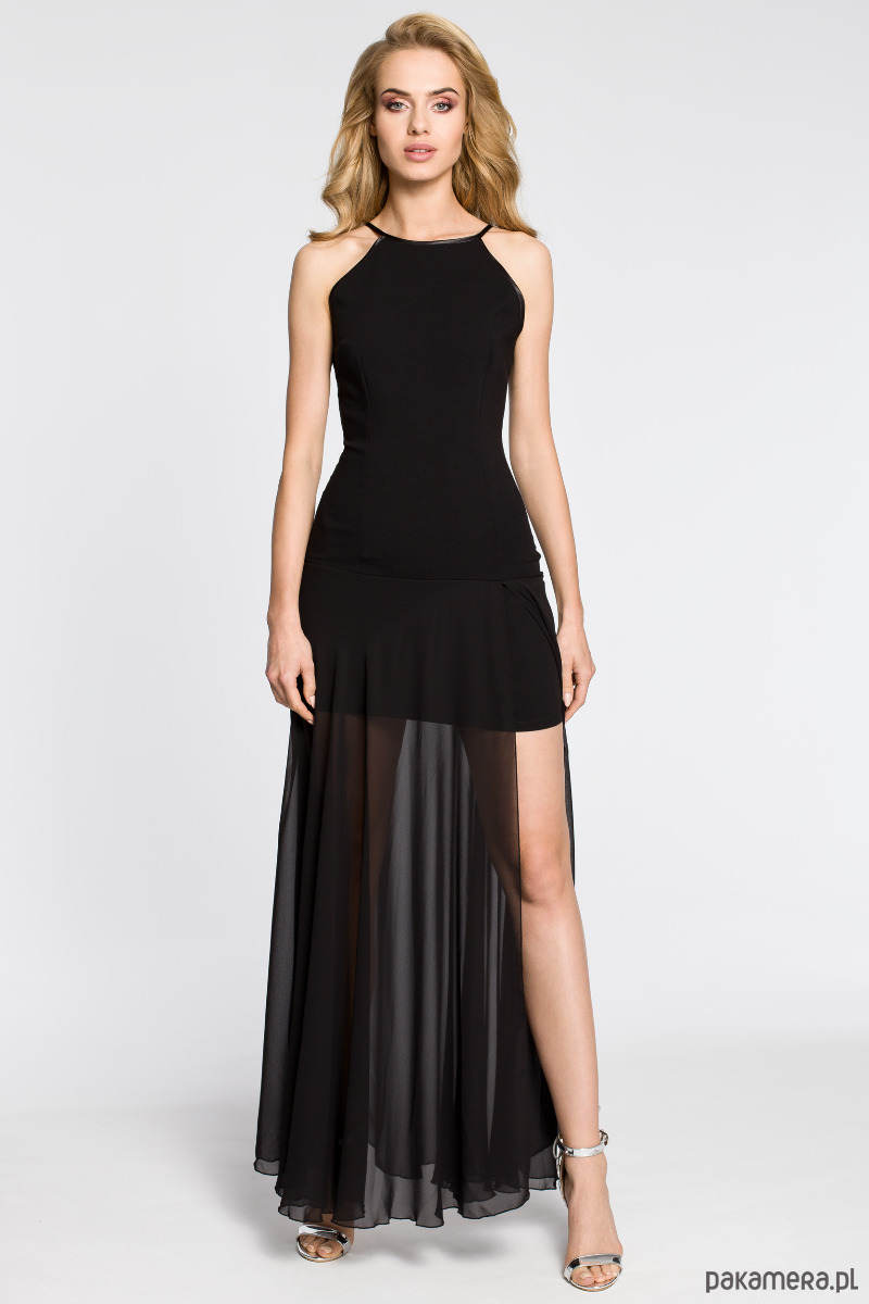 Wieczorowa sukienka maxi - czarna