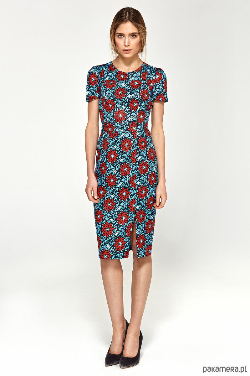Sukienka z krótkim rękawem s97 - kwiaty