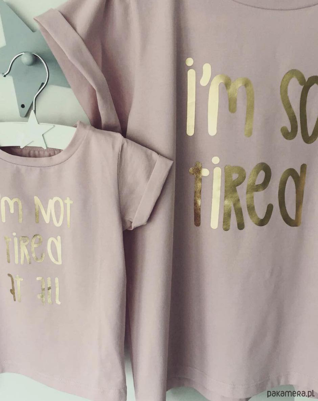 Zestaw 2 koszulek mama dziecko (pudrowy róż)