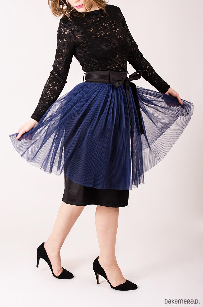 tiulowa plisowana spódnica S