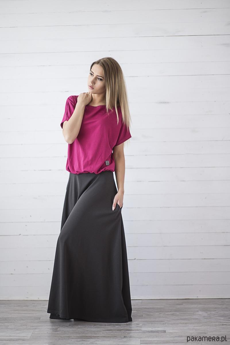 SUKIENKA kimono LONG - malinowo-antracytowa
