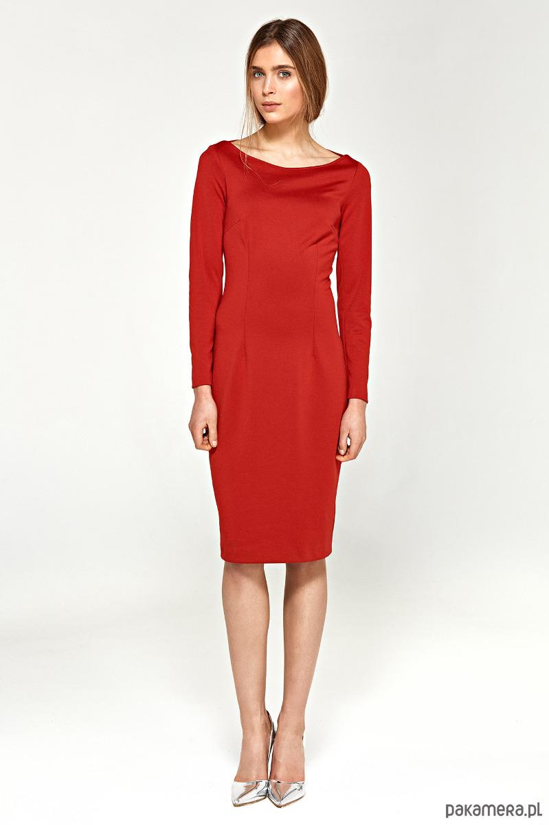 Sukienka z dekoltem w łódkę s95 - czerwony