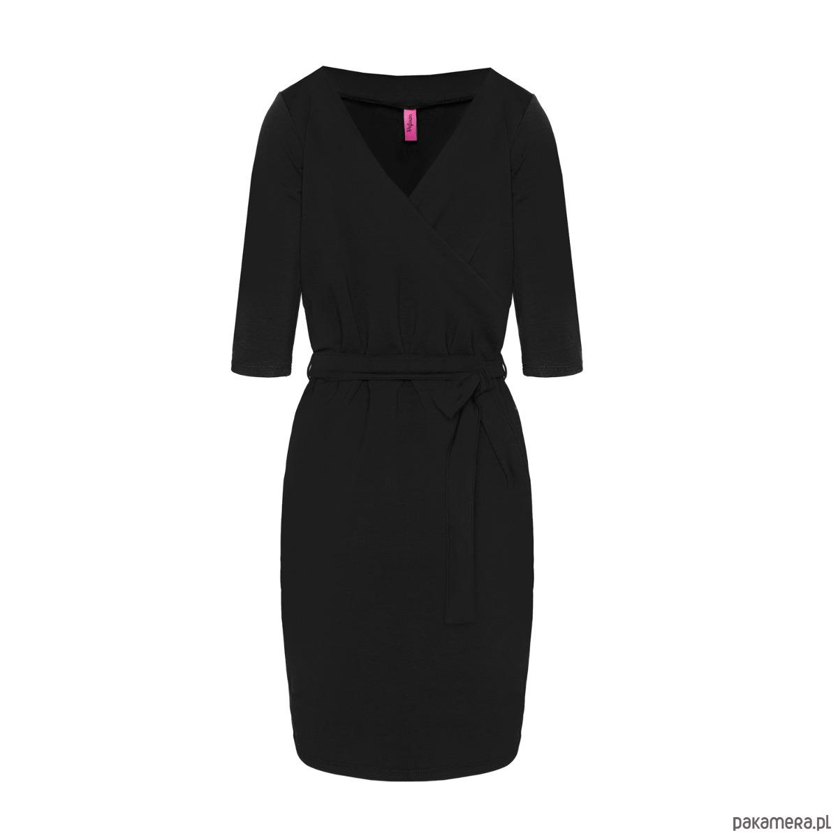 Sukienka kopertowa z dekoltem serek czarna