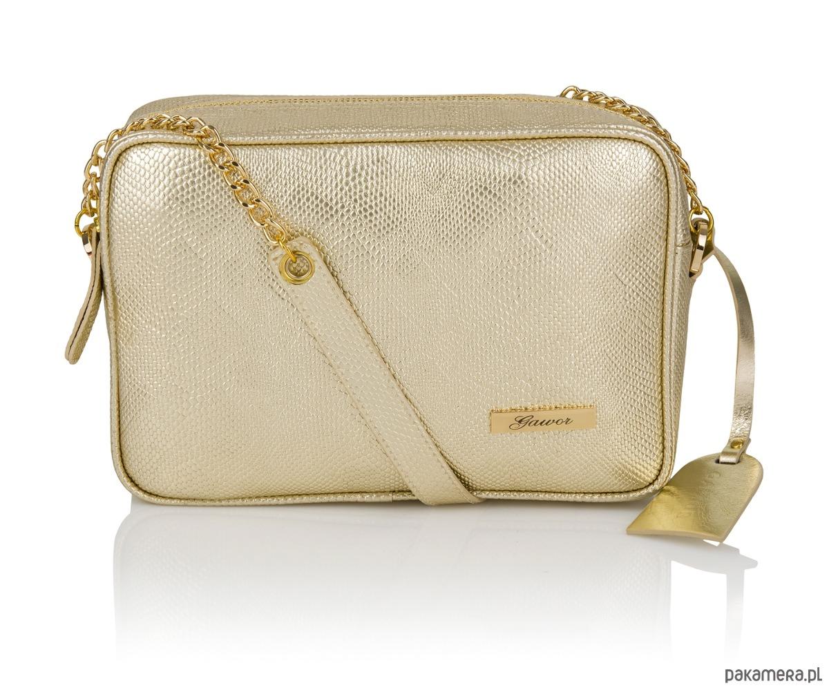 80f760e21aa23 Skórzana listonoszka złota Michela - torebki mini - Pakamera.pl