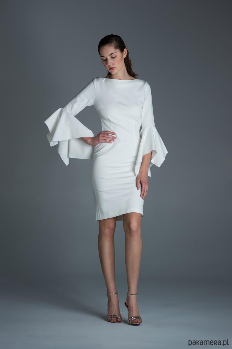 5ff194ce35 Elegancka biała sukienka - sukienki - midi - Pakamera.pl