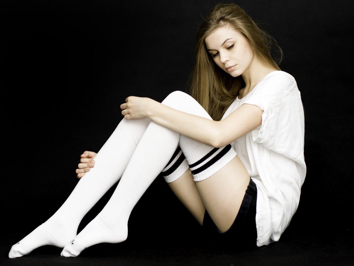 Białe Sportowe Zakolanówki ZAYE Streetwear - 2015747
