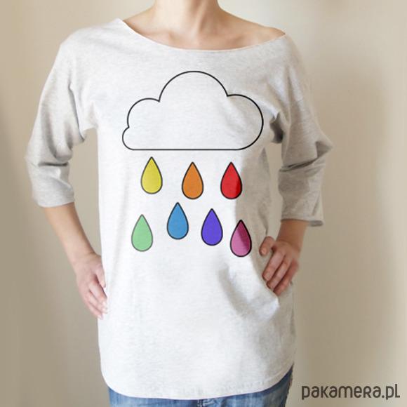 Deszcz tęcza Oversize szary długi
