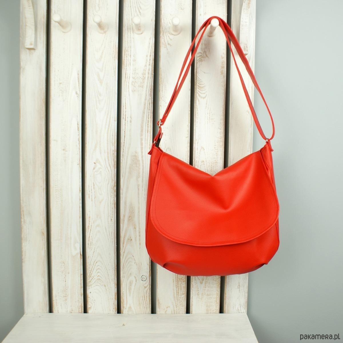 2a07286f88384 torby na ramię - damskie-Czerwona listonoszka damska