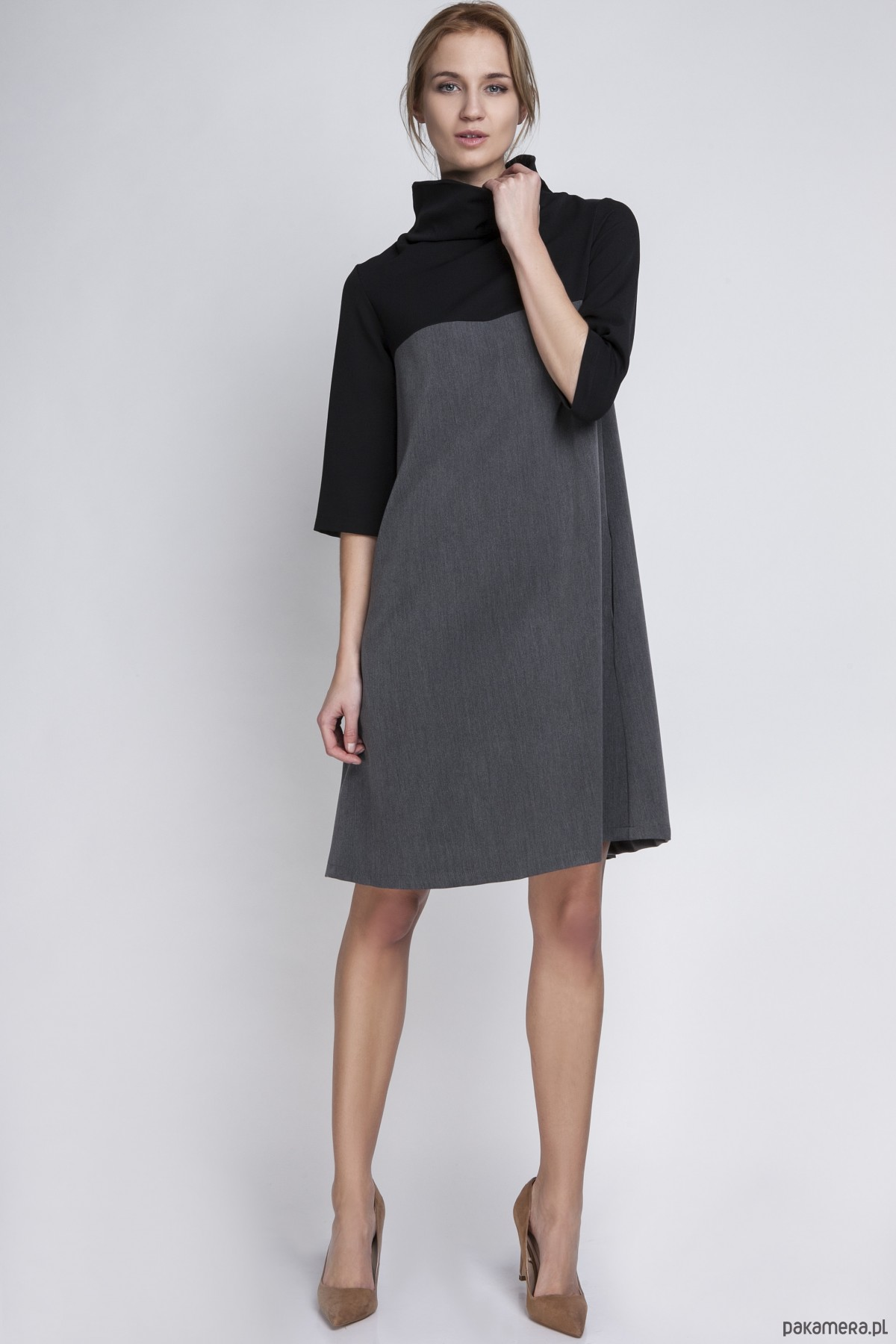d7b4ffe589 sukienki - midi-SUKIENKA Z GOLFEM