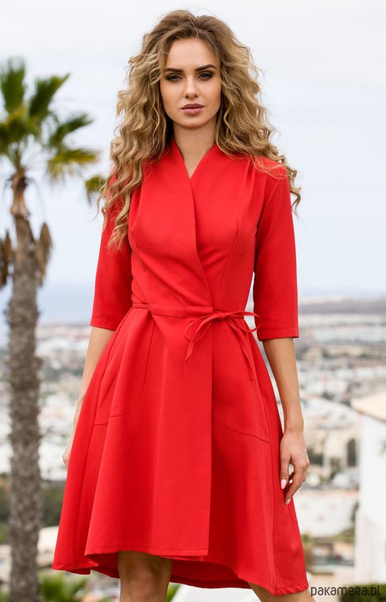 Sukienka na zakładkę z wiązaniem - czerwona