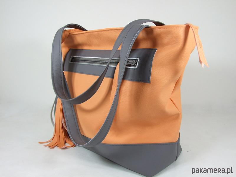 ff3f58f9d0934 Pojemna torba XL szaro-brzoskwiniowa - torby na ramię - damskie ...