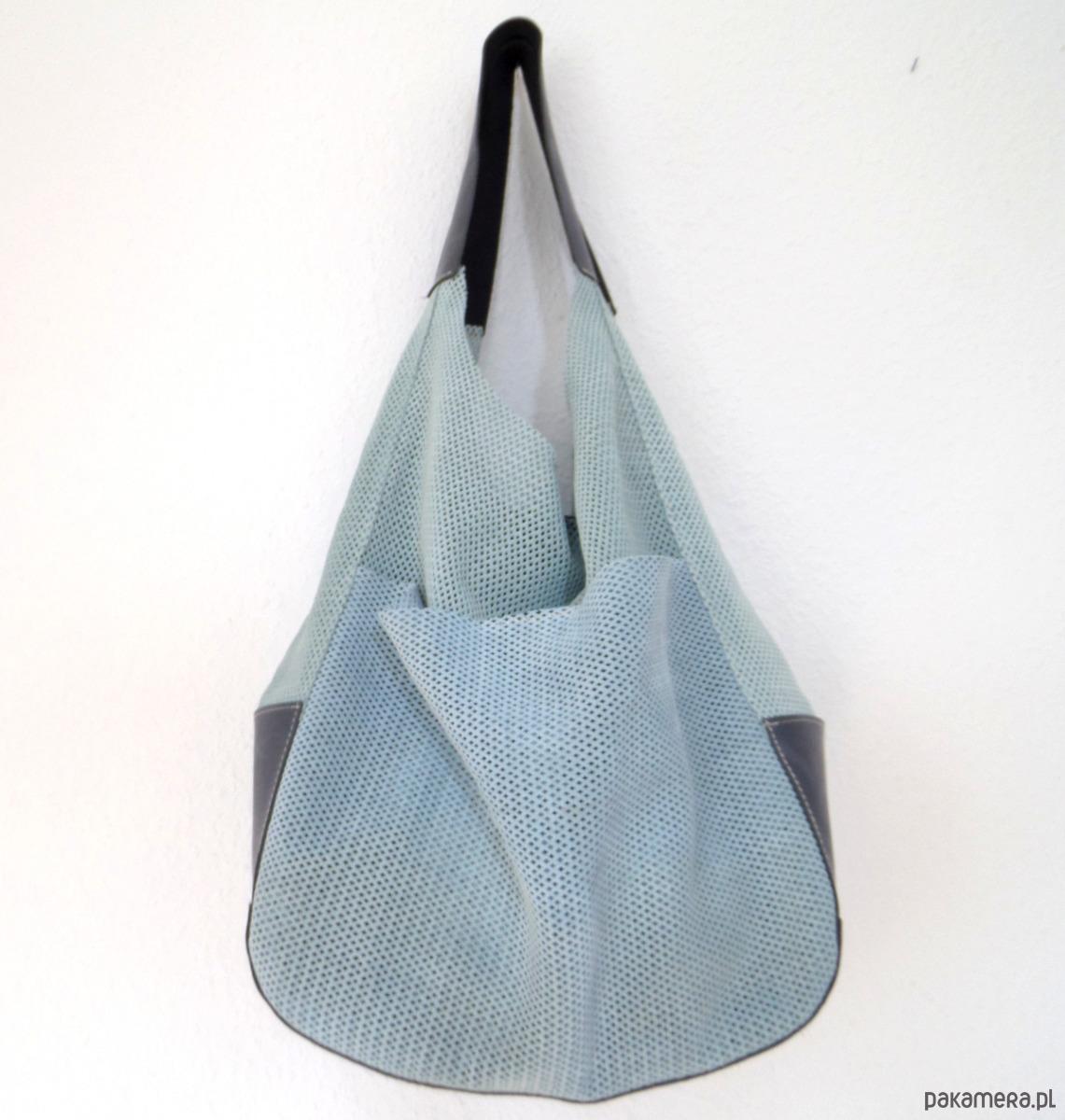 fb97342be138d torby na ramię - damskie-szaro-niebiesk zamszowa skórzana torba worek (1)