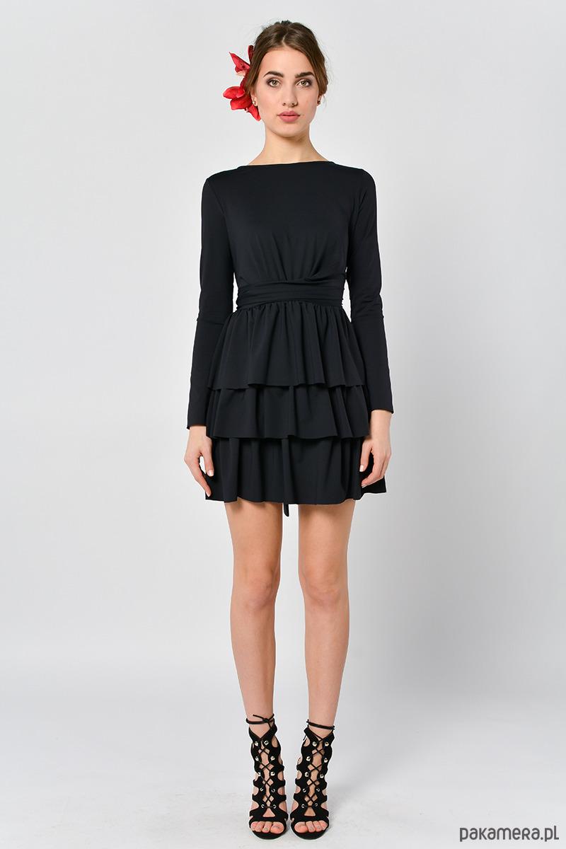 Cristina Botanika czarna sukienka z falbanami