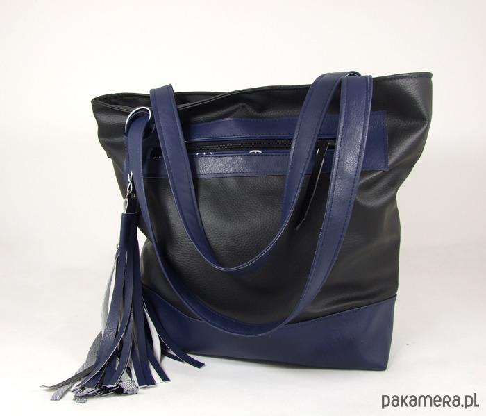 b6d8011b46661 Pojemna torba XL czarno-granatowa - torby na ramię - damskie ...