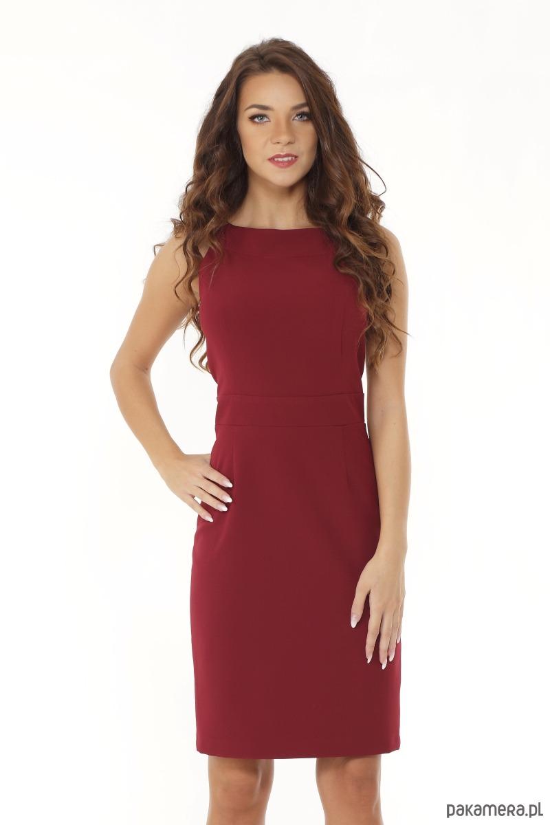 c4bdc41145 Dopasowana sukienka odcięta w pasie bordowa - sukienki - mini ...
