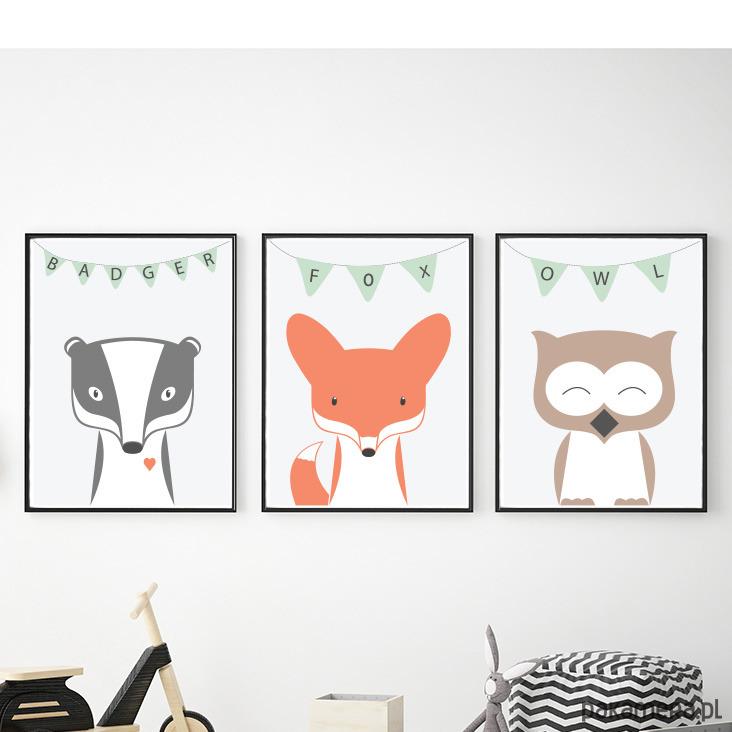 Plakaty Dla Dzieci Zwierzęta Lis Sowa Borsuk Pakamerapl