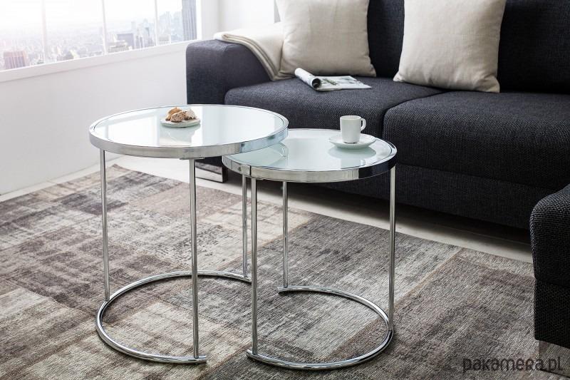 W Mega Stolik kawowy Loop 2 części biały metal szkło - meble - stoły i HZ26