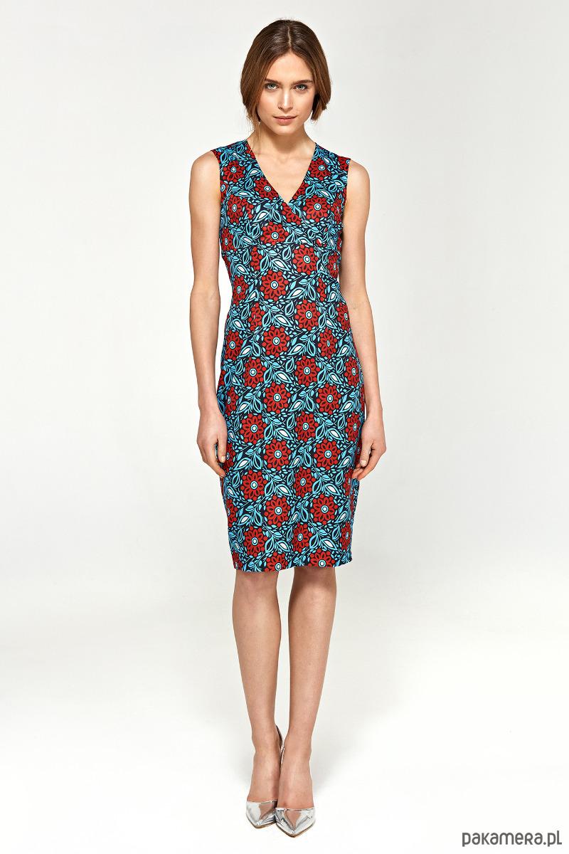 Ołówkowa sukienka z dekoltem V s98 - kwiaty