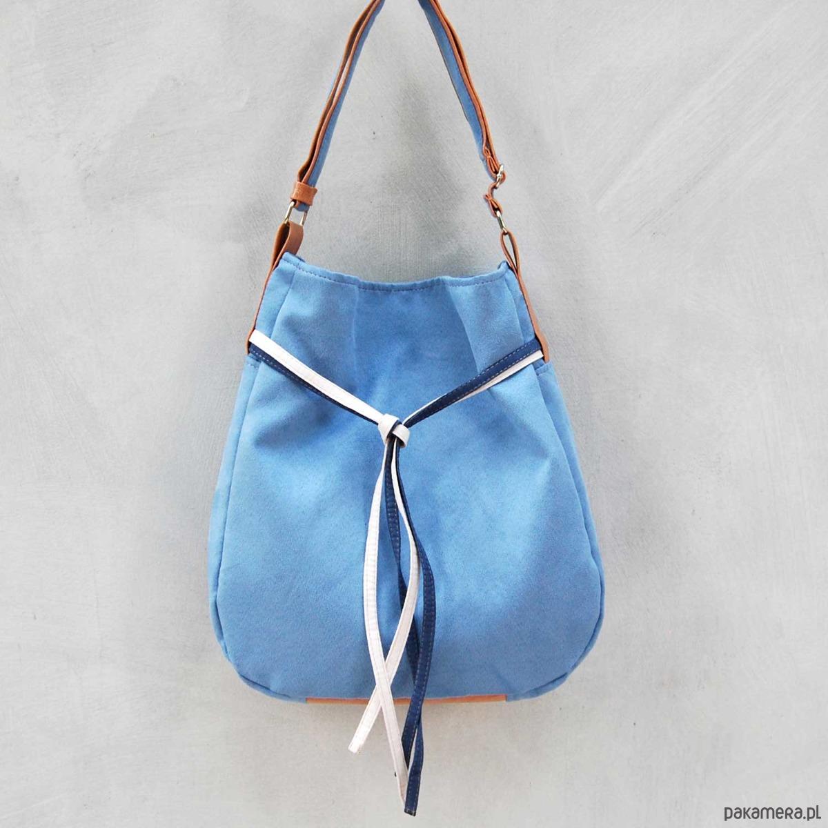 8dd0d75dfc451 SIMPLY BAG - duża torba worek - niebieska - torby na ramię - damskie -  Pakamera.pl