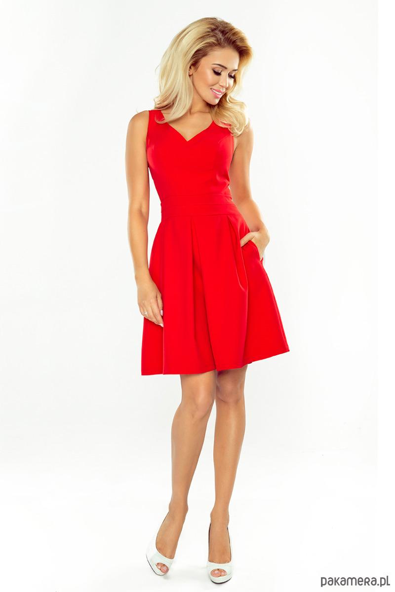a0b9987ceb97 160-3 Sukienka z dekoltem - czerwona - sukienki - midi - Pakamera.pl