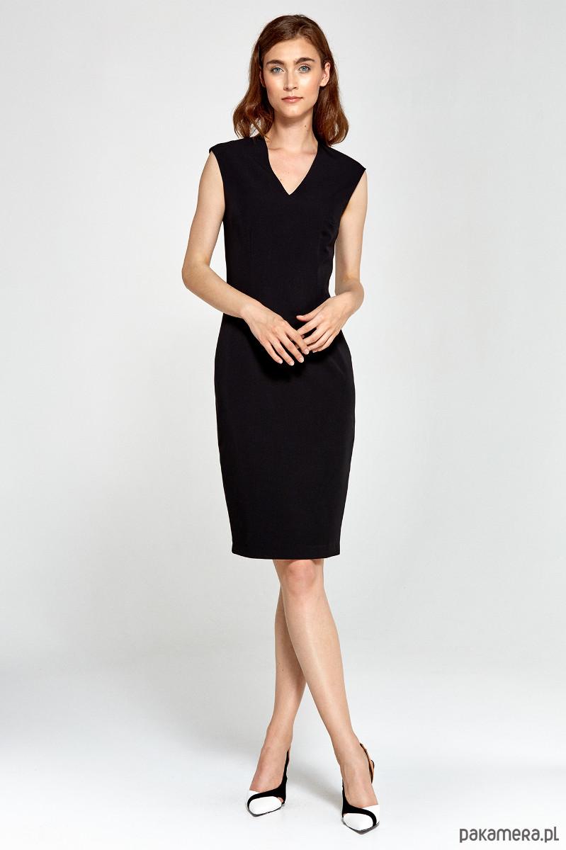 Dopasowana sukienka z dekoltem V s87 - czarny