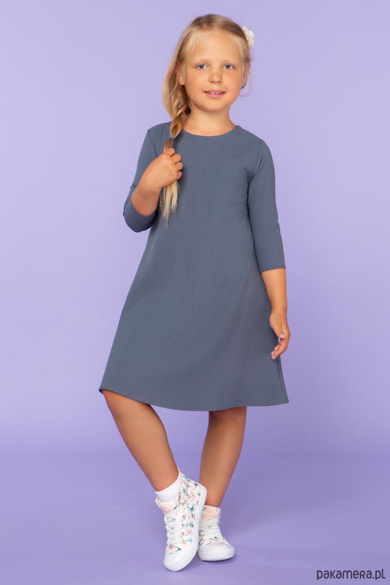 Sukienka trapezowa, model 24, brudny niebieski