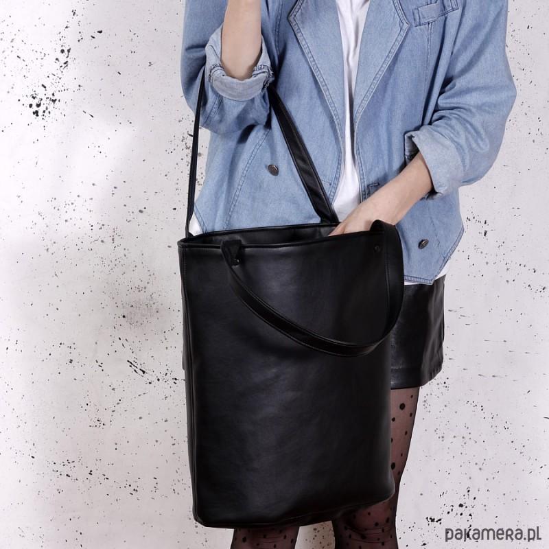 b58e71aa78ba4 torby na ramię - damskie-Shopper XL torba czarna   vegan   na codzień