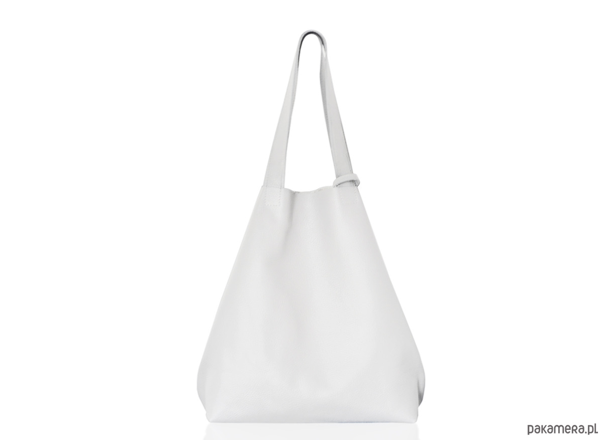 48b3bd393b68f Skórzany worek na ramię biały XL - torby na ramię - damskie - Pakamera.pl