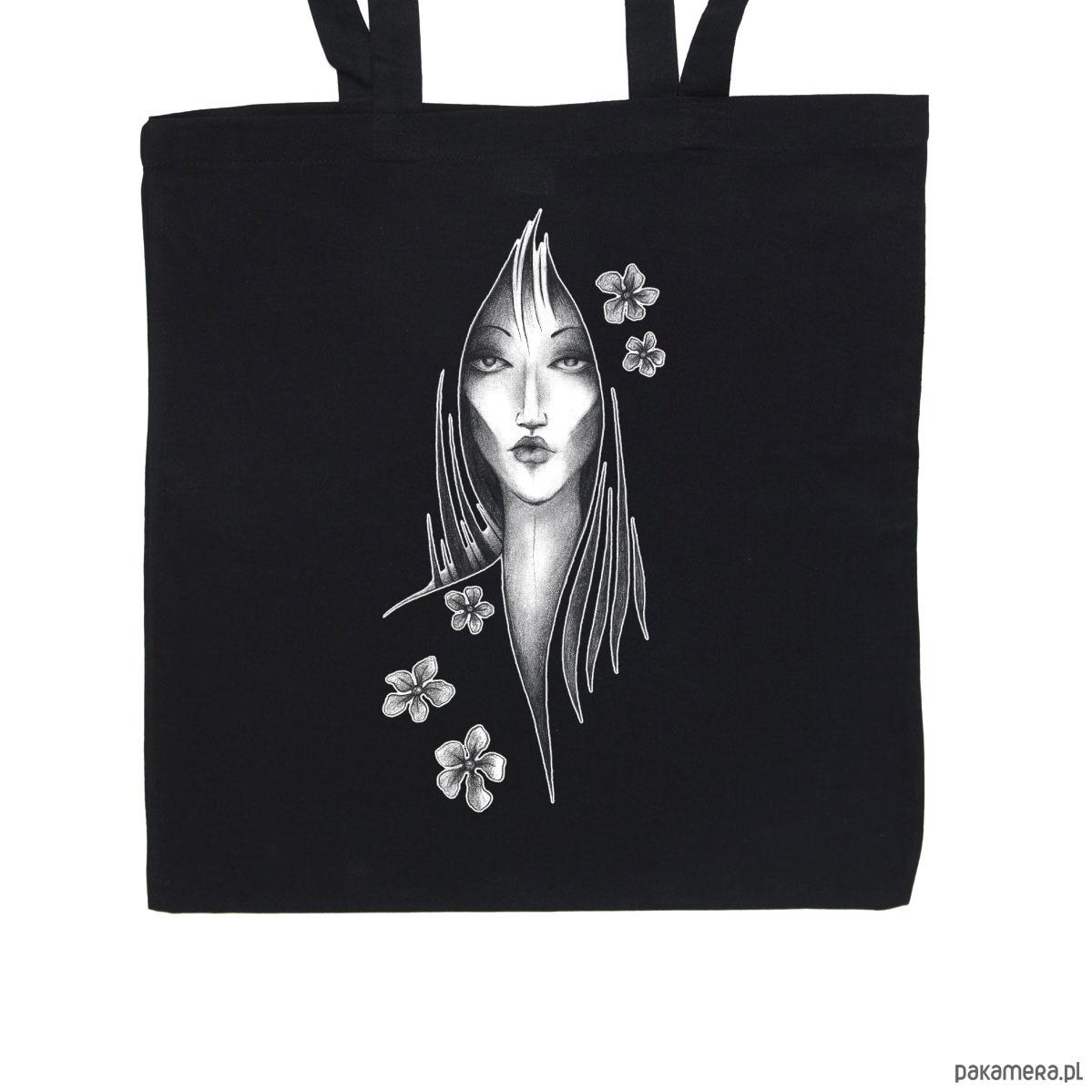 a21fd7e1db8d7 Kwiaty - torba bawełniana czarna - torby na zakupy - unisex - Pakamera.pl