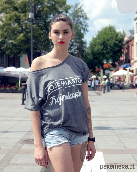 T-shirt oversize szary MOJE MIASTO