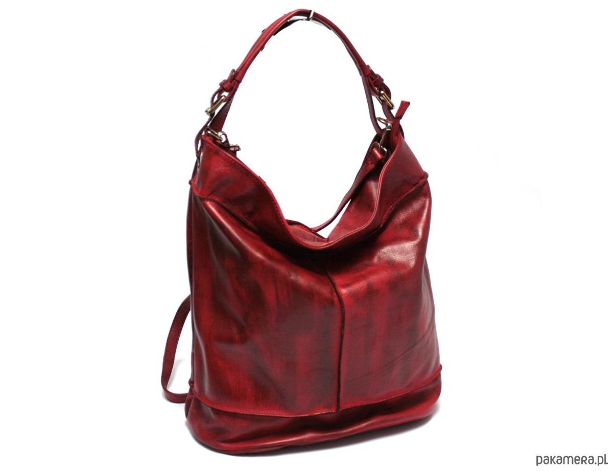 439ca1a6a9965 torby na ramię - damskie-Torebka skórzana WuKaDor Vintage W999 czerwona