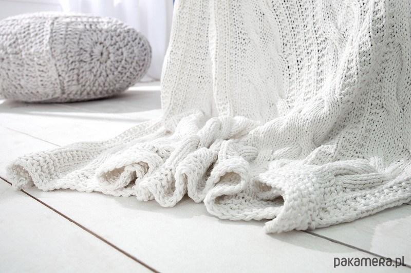 koc pled narzuta cosy ii bia y knitted dziergany dodatki. Black Bedroom Furniture Sets. Home Design Ideas