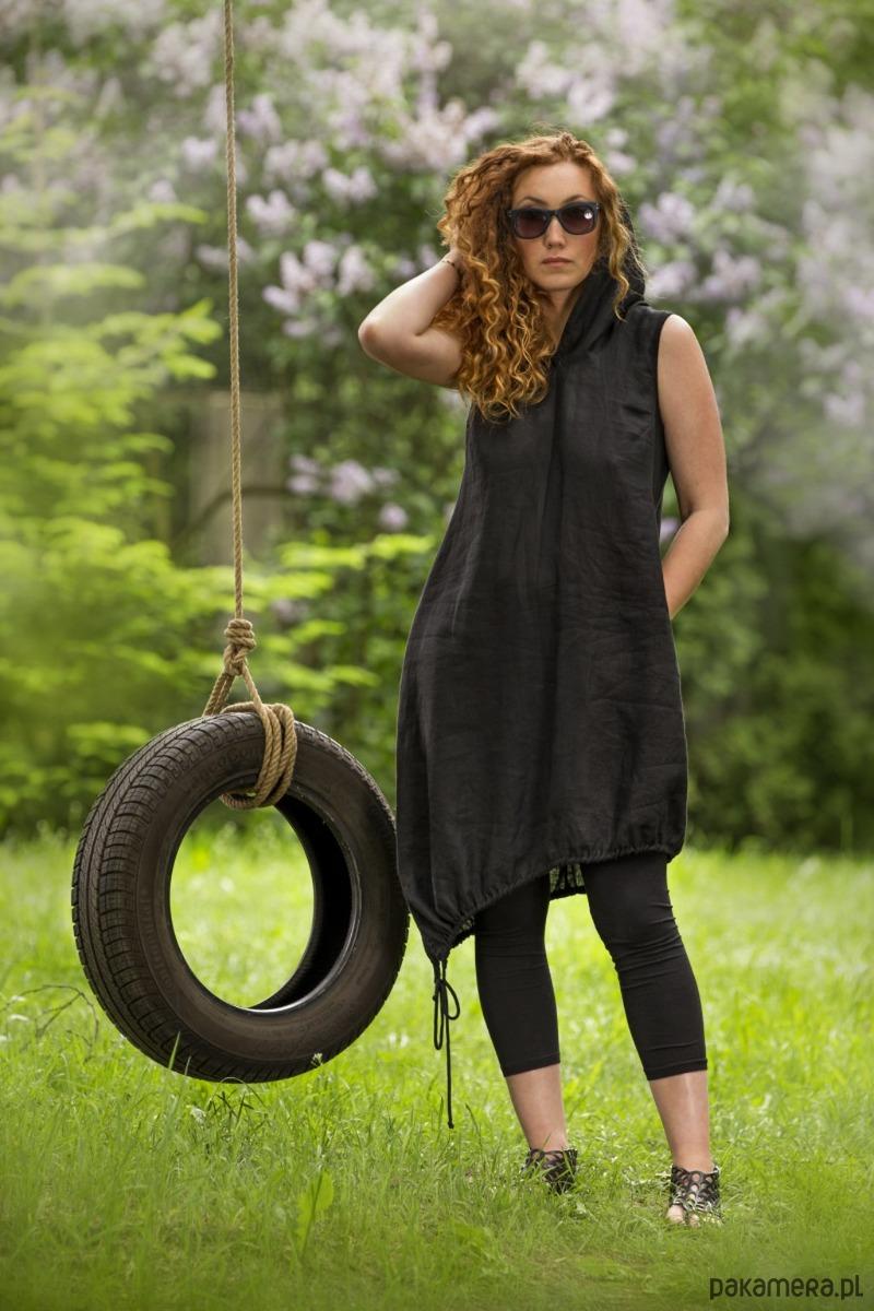 Czarna sukienka len / L