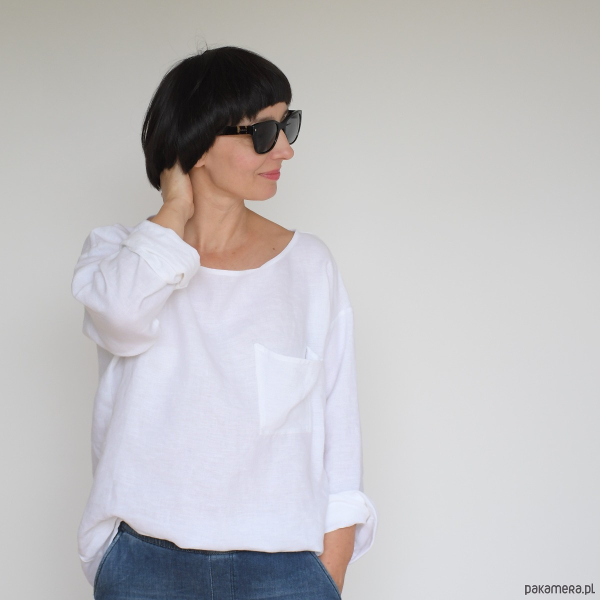 e83335be lniana bluzka KOKURO - biała - Pakamera.pl