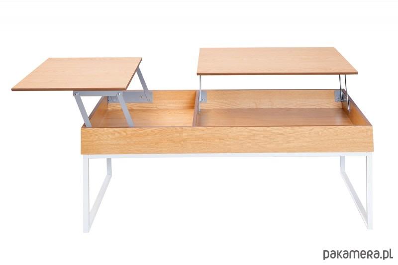 Stolik Kawowy Rozkładany Piano Biały Dąb 110cm Pakamerapl
