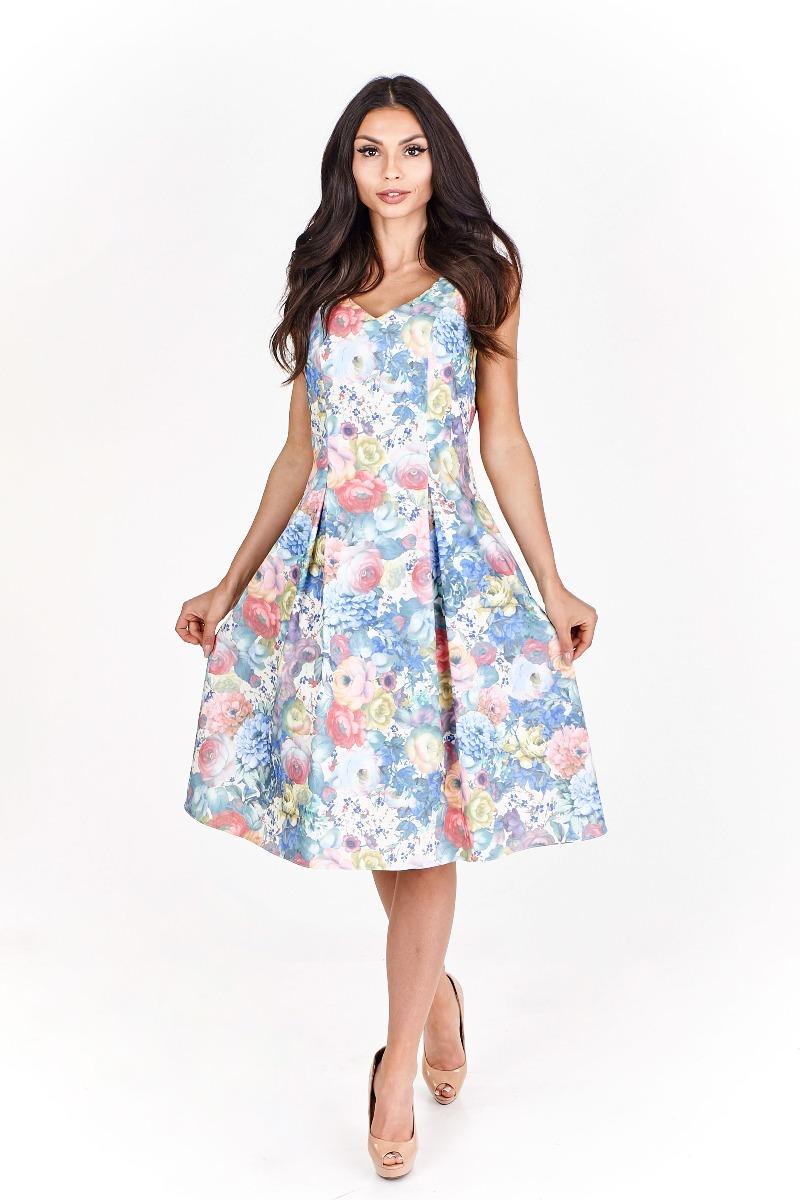 Sukienka koktajlowa Elissa midi w pastelowe kwia