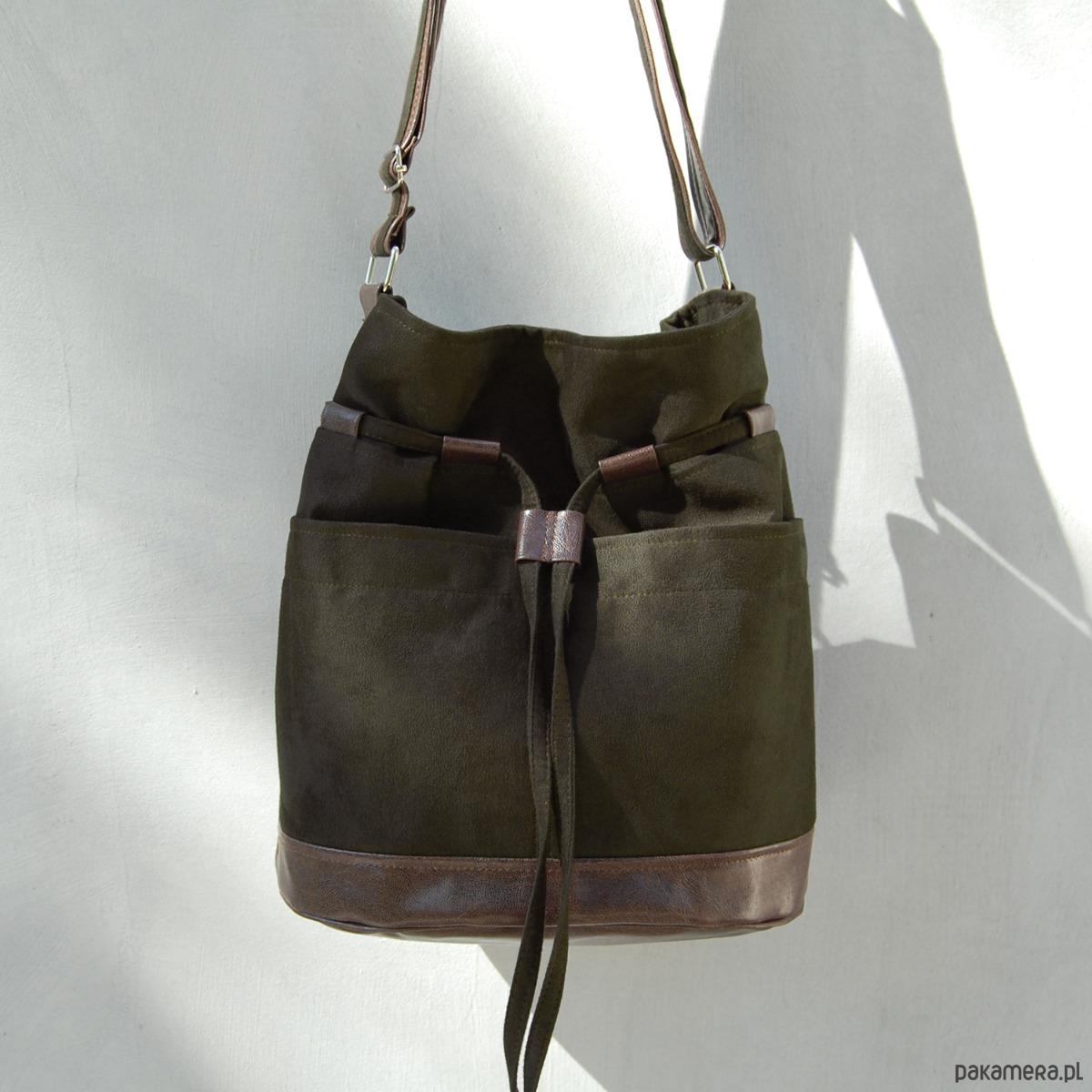 f071acf9fb97b YOCCA - torba worek - ciemnozielone khaki i brąz - torby na ramię - damskie  - Pakamera.pl