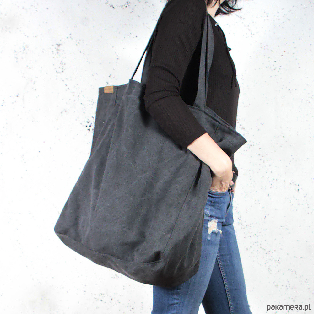 910c263c Big Lazy bag torba czarna na zamek / vegan / eco - Pakamera.pl