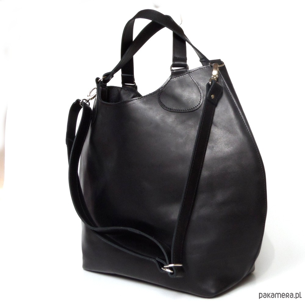 Czarna duża skórzana torba