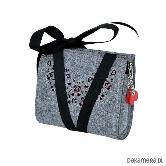 8d3944d772af2 Filcowa torebka dla dziewczynki - czerwono szara - akcesoria - torebki