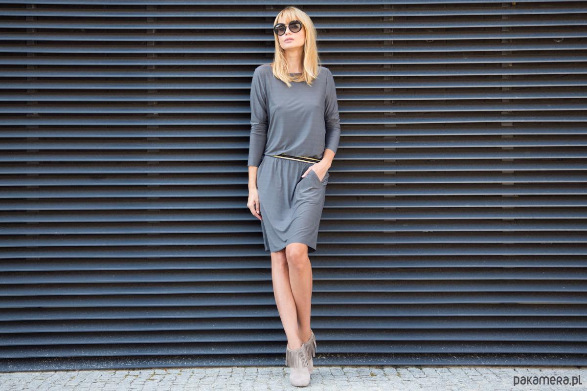 Sukienka Cupro Casual Chic Grey
